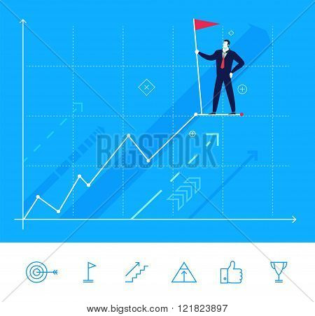 Vector illustration. Businessman standing at the top with flag.