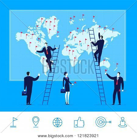 Vector illustration of teamwork. Business team make marks on the map