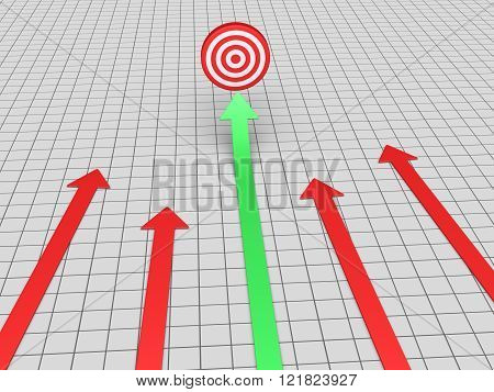 Arrows are on the ground but one is rising and pointing at a target