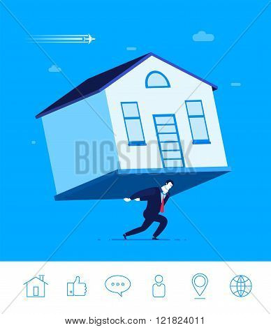 Vector business concept  illustration. Businessman holding a house