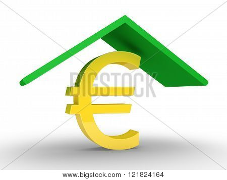 A roof is protecting a euro symbol