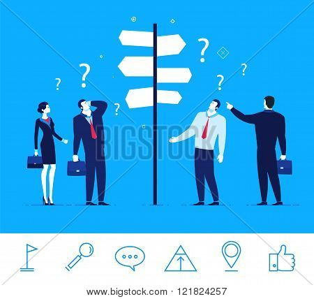 Vector business concept  illustration. Businessmen and businesswomen standing at a crossroads.