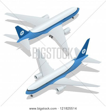 Large passenger Airplane 3d isometric illustration. Airplane freight. Flat 3d vector isometric high