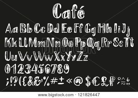 Chalk Lating Alphabet.