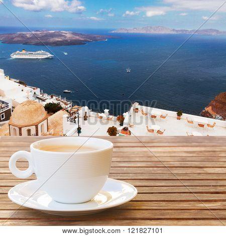 Cup of coffee on  Santorini