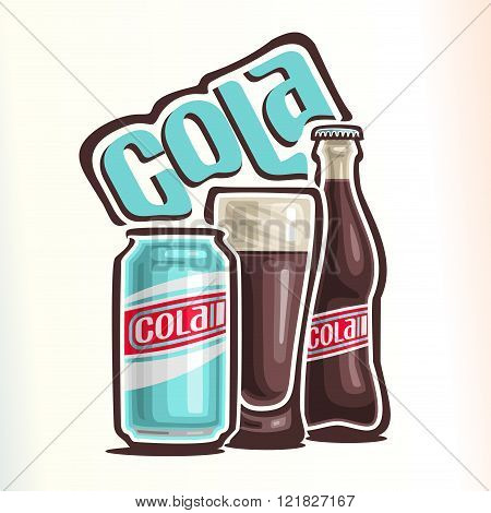 Vector illustration on the theme of the logo for cola, consisting of can with cola, glass cup filled with cola and closed glass bottle of cola