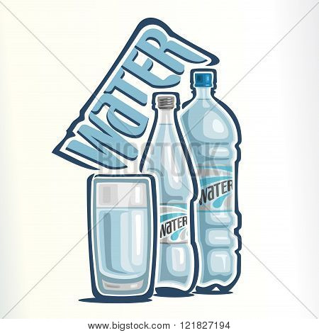 Vector illustration on the theme of the logo for drinking water, consisting of a glass cup with clean water, closed glass bottle of drinking  water and a closed plastic bottle with mineral water