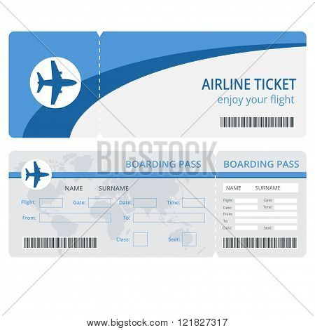 Plane ticket design. Plane ticket vector. Blank plane tickets isolated. Blank plane tickets EPS. Pla