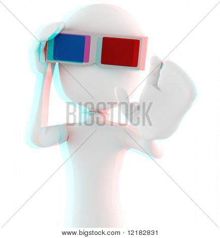 3d man with 3d glasses - Anaglyph Red-Cyan image, so put your 3d glasses ON ! :)