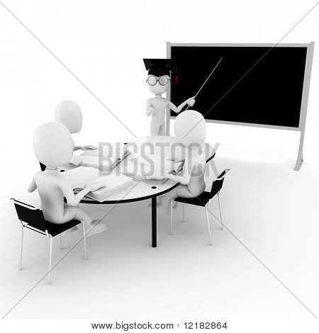 3d man classroom - teacher and students