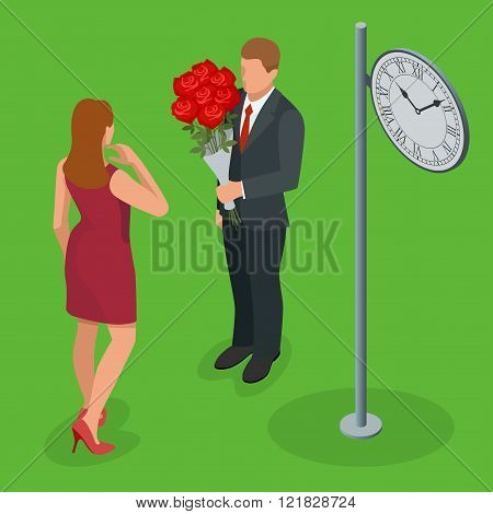 Romantic couple in love meeting. Love and celebrate concept. Man gives a woman a bouquet of roses. R