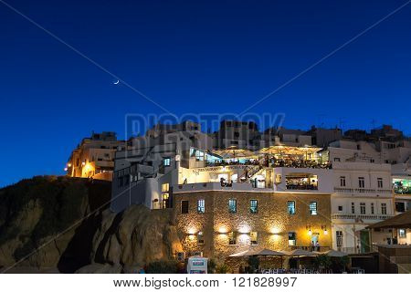 Albufeira beach at night, Algarve, Portugal