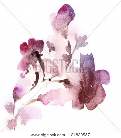 Abstract floral watercolor paintings. lilac and pink Tint Watercolour Texture Gradient. Pastel Colored Palette.