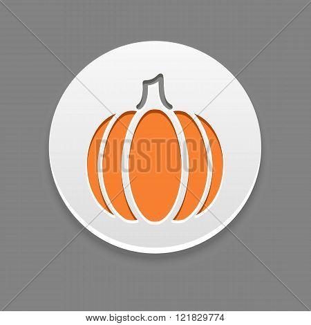 Pumpkin Icon. Vegetable Vector Illustration