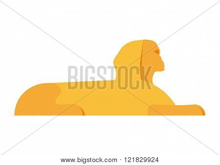 Sphinx head vector illustration. Sphinx head isolated on white background. Pyramid of Sphinx head.Eg
