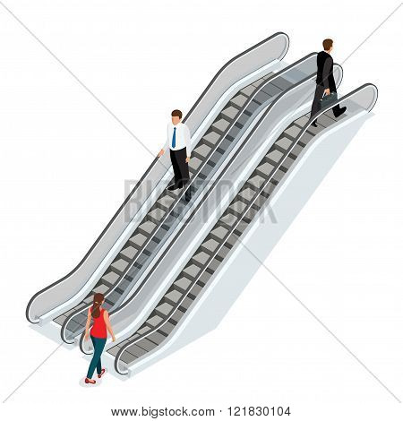 Escalator image. Isometric Escalator illustration. Elevator JPG. Modern architecture stair, lift and