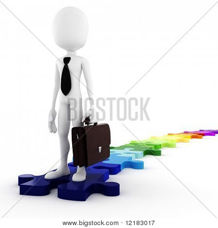 3d man business-man standing on colorfull puzzle pieces, concept