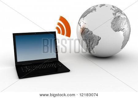 comunicación global inalámbrico 3D