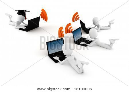 3d man e-learning, on white background