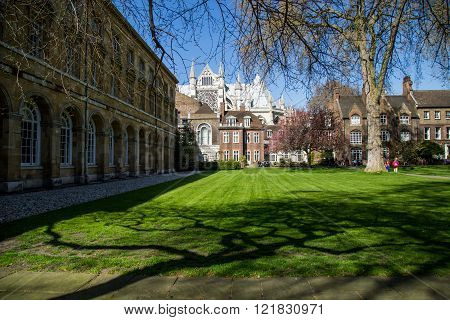 LONDON - APRIL 14: Courtyard of Westminster Abbey in spring. The abbey is the venue for many royal o