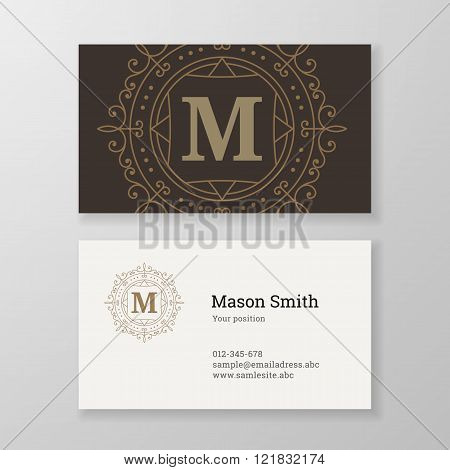 Business Card Ornament Emblem Letter M Template Design.