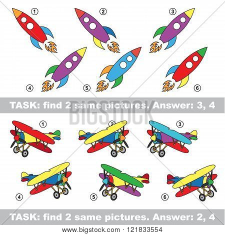 Design different, color equal.  Vector visual game. Task and answer. Find two similar Rocket and Plane