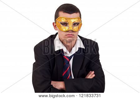 portrait of a handsome young man wearing a Venetian mask