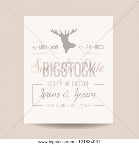 Wedding Invitation Card - Save the Date - Rustic Style - in vector