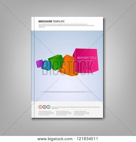 Brochures Book Or Flyer With Colorful Abstract Cubes Template
