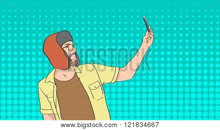 Man Wear Winter Hat Taking Selfie Photo On Smart Phone Pop Art Colorful Retro Style