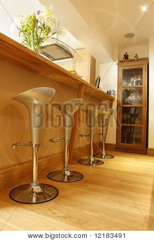 crome stools on wooded floor