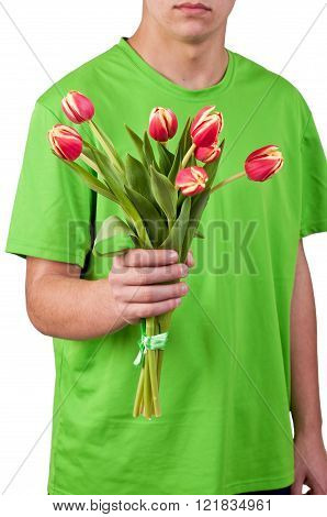 young men give the flowers over white backgroung