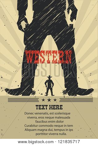 West Gunfight Poster For Text.vector Illustration