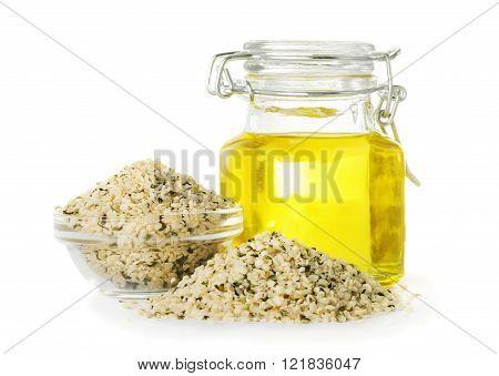 Hemp oil in a bottle