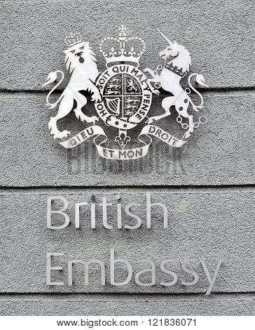 MINSK BELARUS - NOVEMBER 1: Sign of British Embassy on the wall in Minsk on November 1 2014. The United Kingdom of Great Britain and Northern Ireland is a sovereign state in Europe.