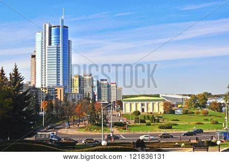 MINSK BELARUS - OCTOBER 3: View of a city centre of Minsk on October 3 2014. Minsk is a capital and the largest city of Belarus.