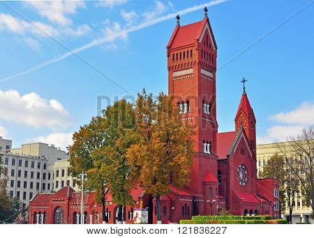 MINSK BELARUS - OCTOBER 4: View of the Roman catholic church in Minsk on October 4 2014. Minsk is a capital and the largest city of Belarus.