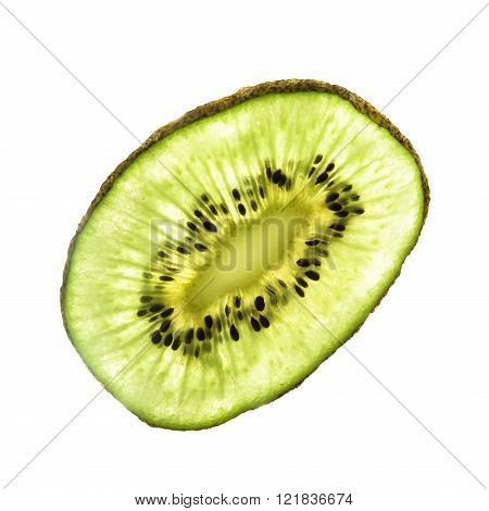 Slice kiwi fruit isolated on white