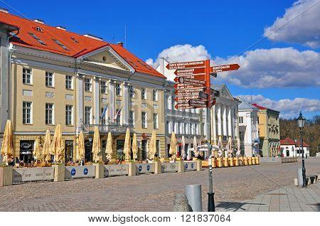 TARTU ESTONIA - APRIL 28: Main pedestrian street in city center of Tartu on April 28 2013. Tartu is a one of most beautiful and touristic cities of Estonia.