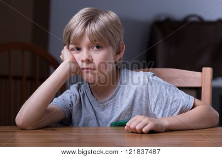 Schoolboy Sitting At The Table