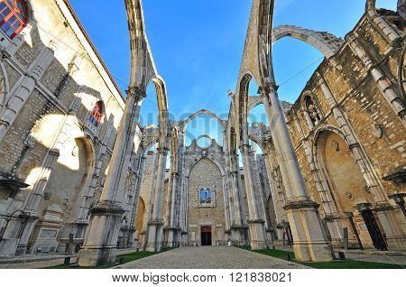 Ruins of Carmo church in Lisbon Portugal