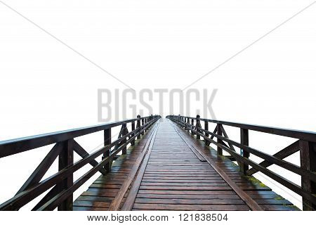 Wooden Retro Bridge Isolated On White