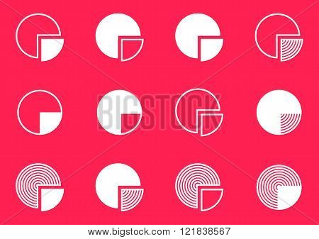 Pie Chart Diagram Icons Collection