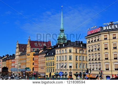 STOCKHOLM SWEDEN - MARCH 16: Multicolor houses of Stockholm downtown on March 16 2013. Stockholm is a capital and the largest city of Sweden.
