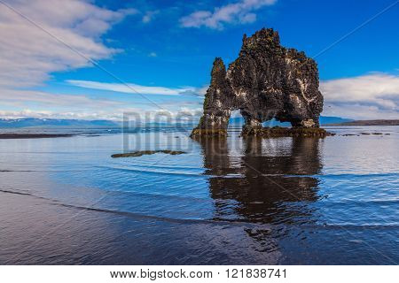 Hvitserkur picturesque rock during low tide at sunset. Stone