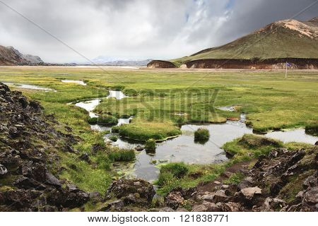 Iceland in July. Hot springs in the valley National Park Landmannalaugar.