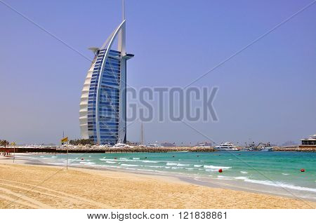 DUBAI UAE - JUNE 11: Burj Al Arab the most expensive hotel in the world in Dubai city on June 11 2012. Dubai is a city in the United Arab Emirates located within the emirate of the same name