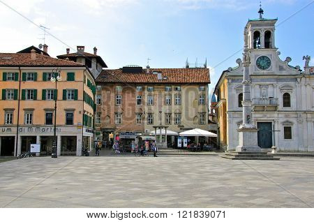 UDINE ITALY - OCTOBER 3: View of the main square of Udine historical centre on October 3 2012. Udine is a city and comune in northeastern Italy in the middle of the Friuli-Venezia Giulia region.