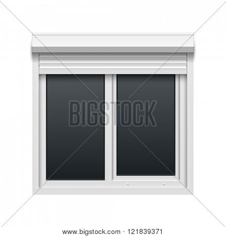 Window with roller shutters. Vector illustration.