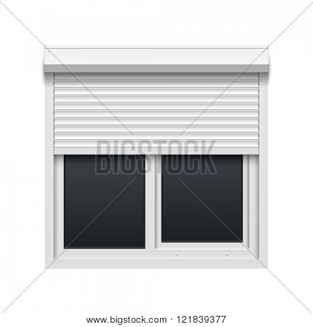 Window with rolling shutters. Vector illustration.